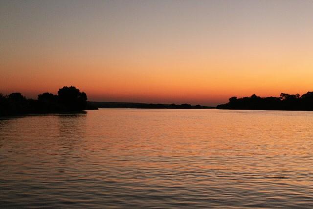 The Zambezi River at twilight.