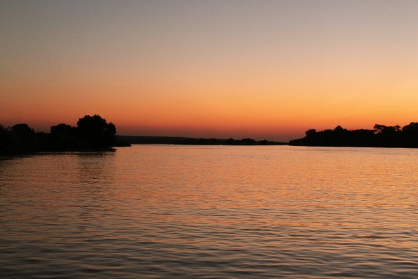 The Zambezi River at twilight.