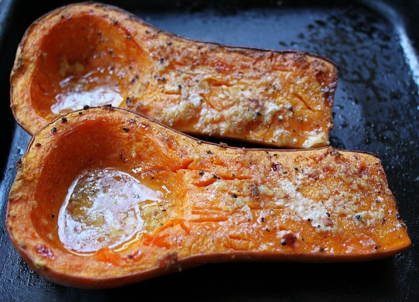 Roasted butternut flavored with olive oil, freshly grated nutmeg, and salt and pepper.