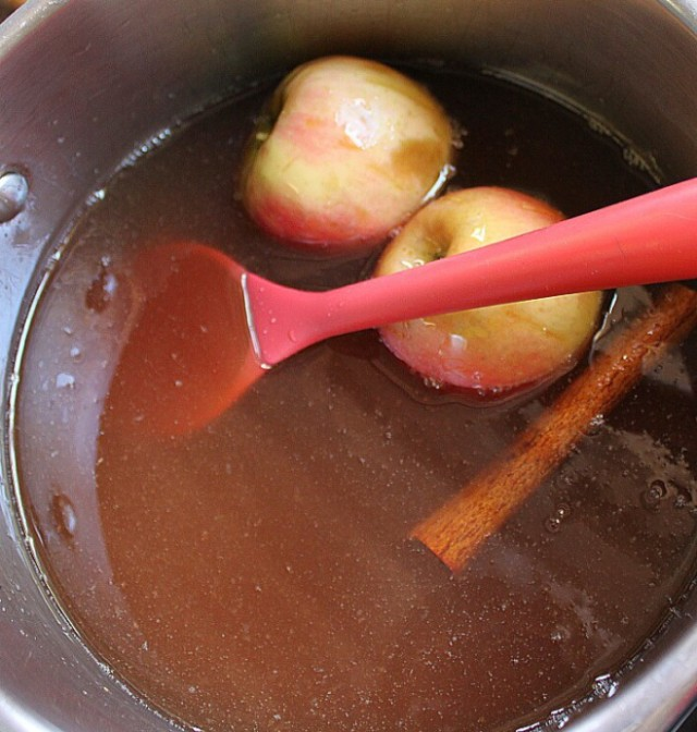 I added two apples to the syrup to help with the setting process of the jelly.