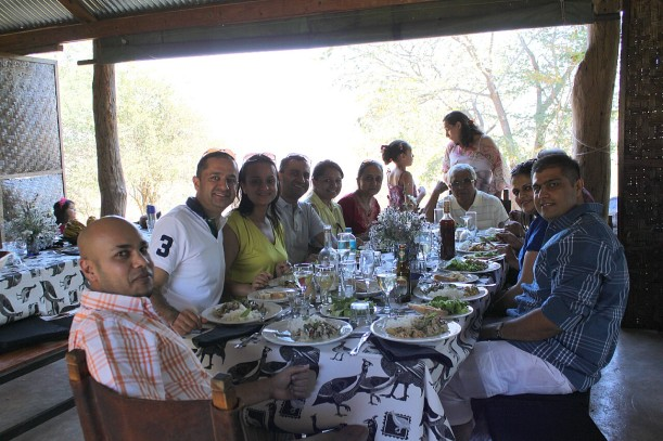 The Parbhoos & Bhukans & friends enjoying Sunday lunch here at the farm.
