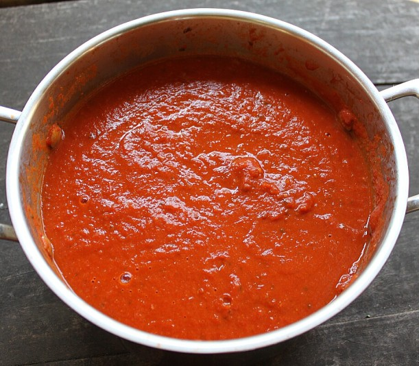 Tomato sauce made from ripened Romas.