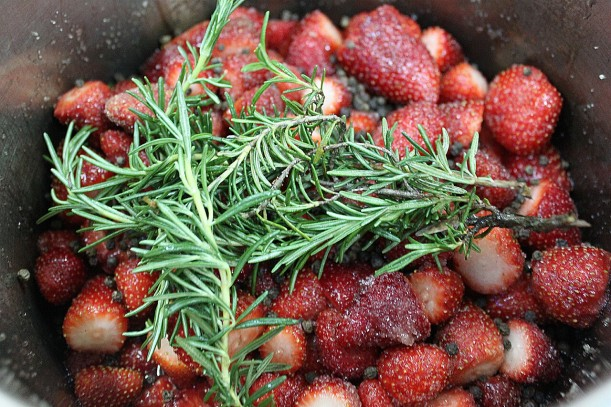 Sugar-crusted strawberries, rosemary & black pepper about to be transformed into coulis.