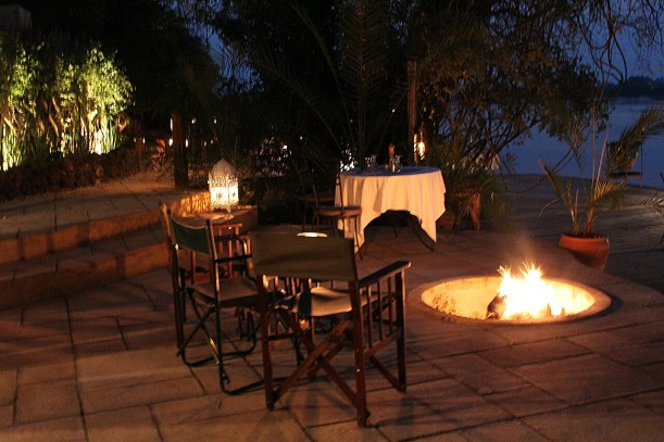 Evening drinks at Tongabezi, looking out over the Zambezi River.