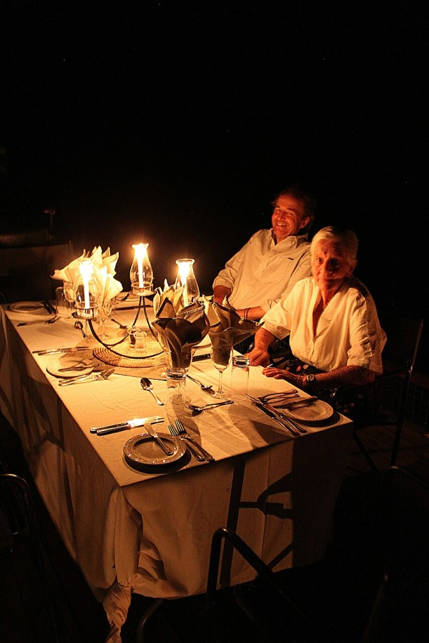 Chris and our friend, Elaine Danckwerts, about to enjoy the candlelit dinner on our sampan, the Titanic (yes, that's its name).