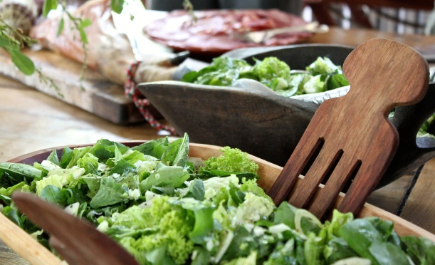 Mixed green salad with a lemon and mustard dressing.