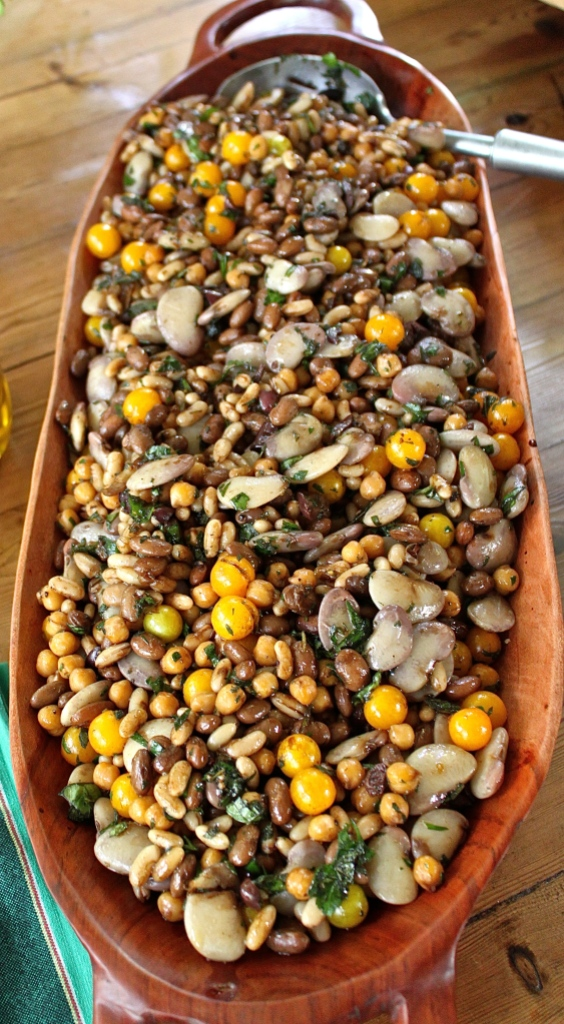 A mixed bean salad, with Christmas lima beans, yellow cherry tomatoes, and handfuls of fresh herbs from the garden.