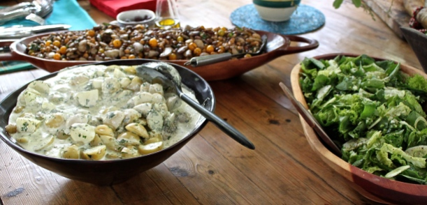 A summer lunch, which included my New Potato Salad with Fresh Herbs and Nasturtium Capers, a recipe that was recently featured in The Cook's Cook magazine in the United States.