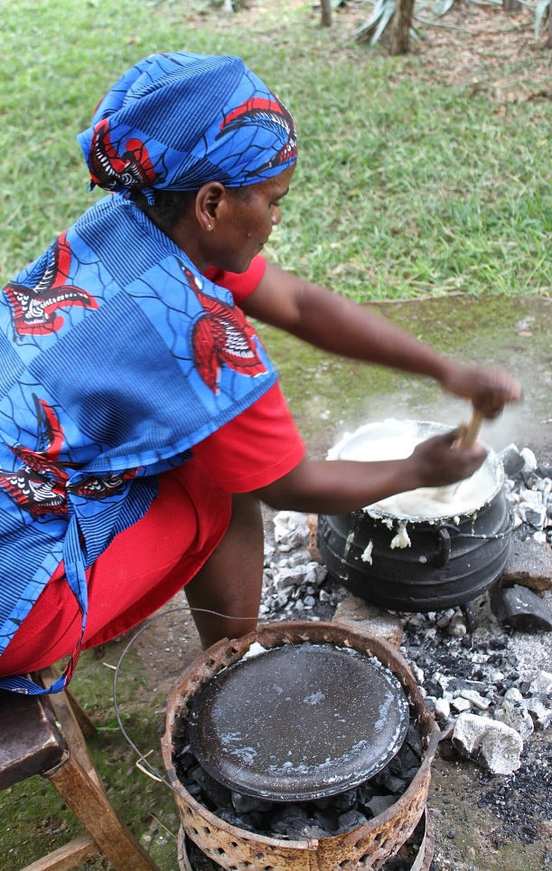 Otiria Ngoma preparing nshima for our first traditional Zambian lunch.