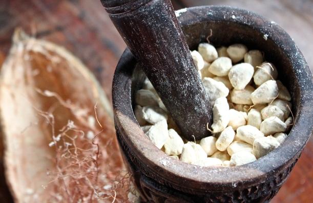 Crushing the baobab fruit for its powder.