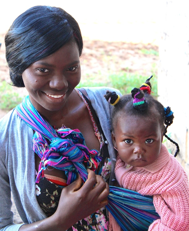 Teacher, Jenny Banda, with her baby Rebecca.