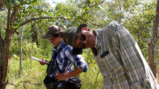 Chris and fellow student, Gabriel Jamie, in the Miombo woodland.