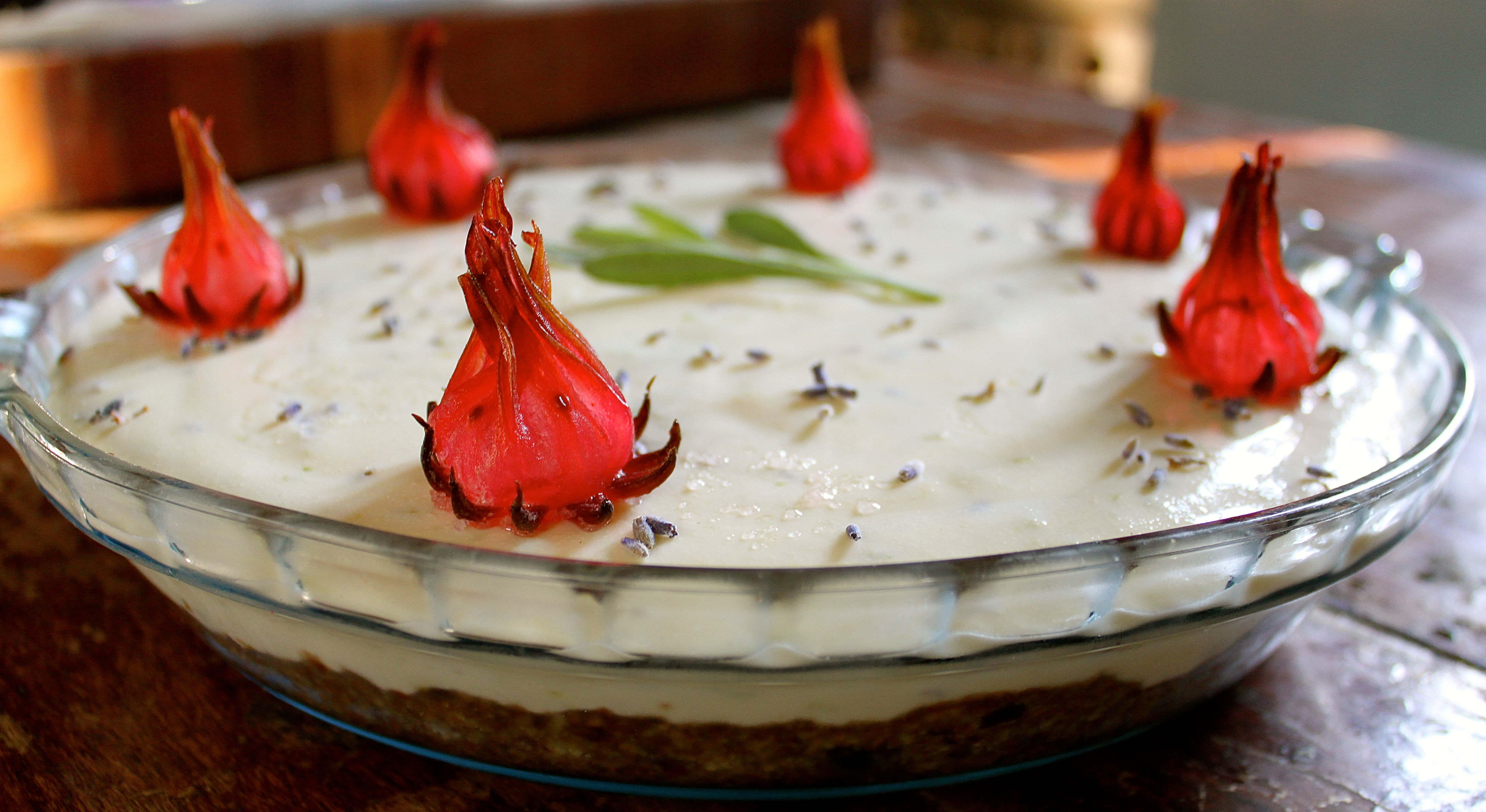 Lavender & Lemon Cream Pie aflame with Rosella.