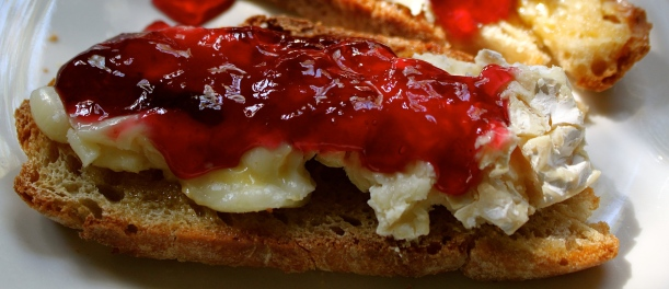 Rosella jelly and camembert cheese on homemade ciabatta is a favorite combo.