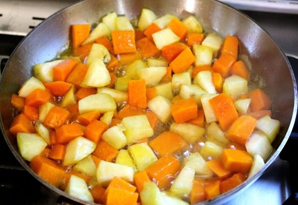 Softening the butternut squash and the sweet potato.