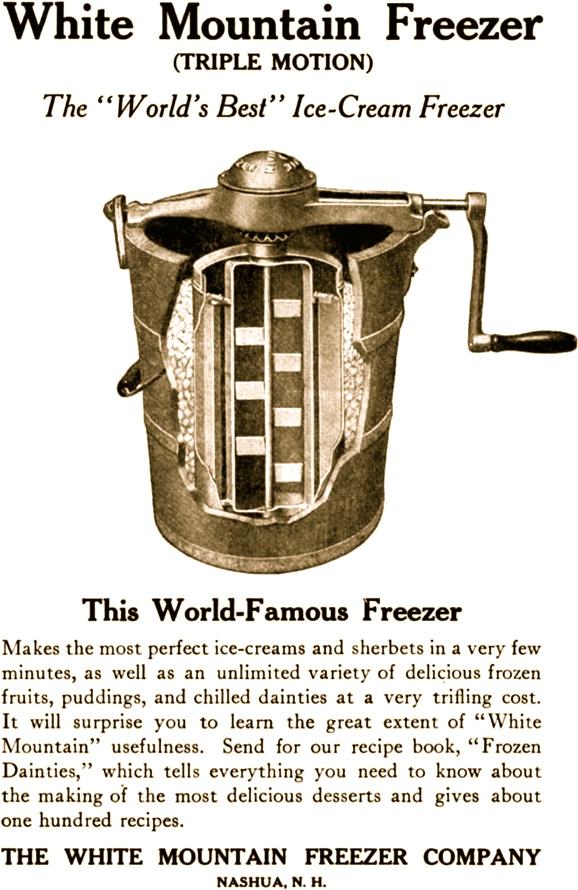 A replica of my grandmother's White Mountain ice cream churner.