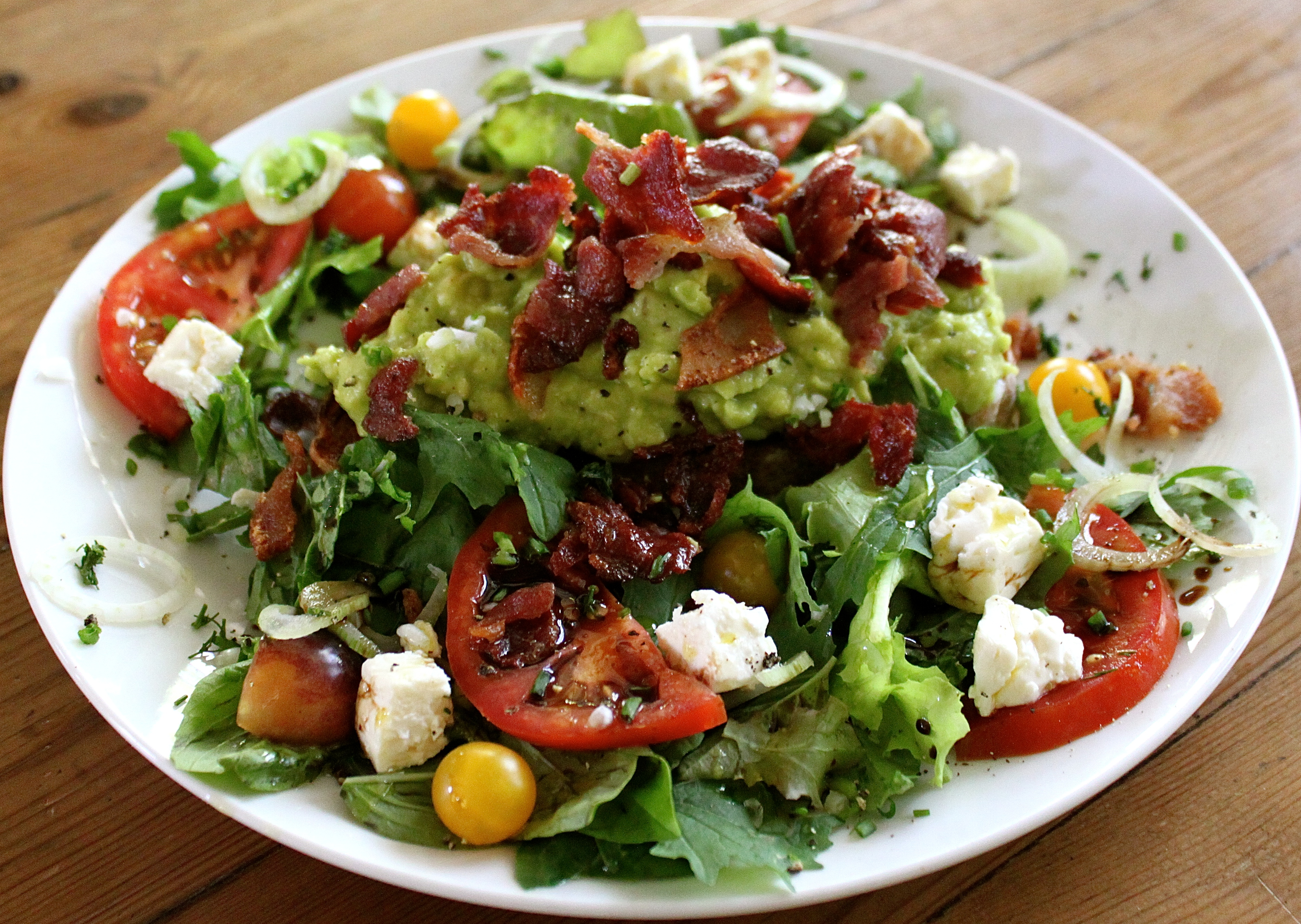 SavannaBel's Smashed Avocado Salad with Bacon.