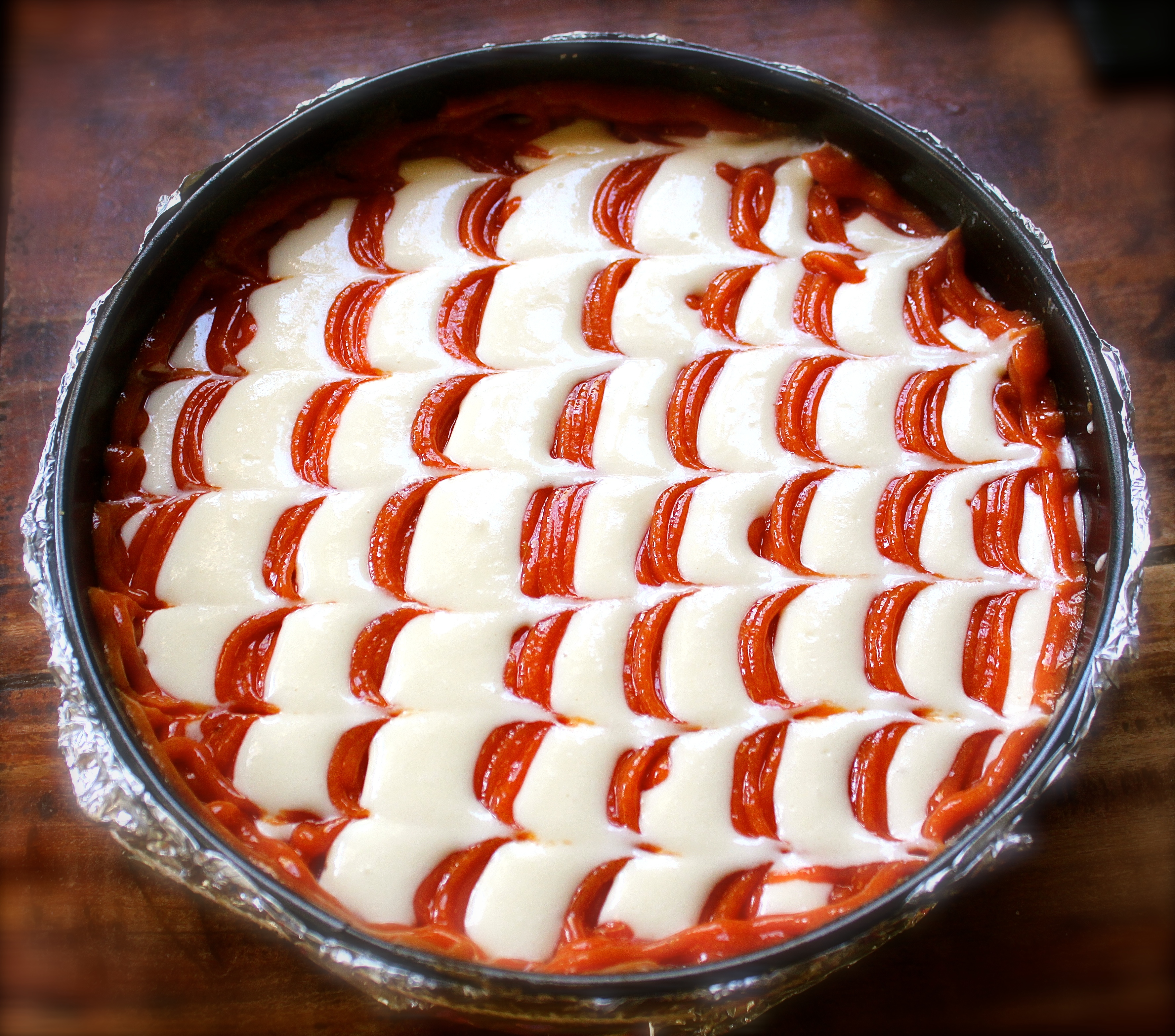 The guava cheesecake ready for baking.