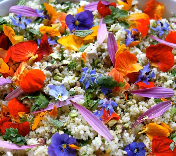 Edible Flower Couscous with Pistachios & Feta.
